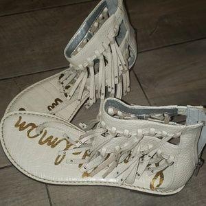 Sam Edelman white fringy sandals sz 7.5